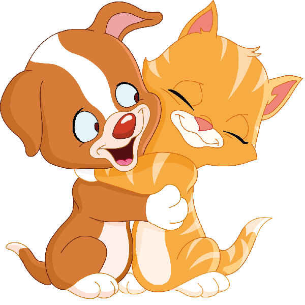 Cat And Dog Cartoon Animal Clip Art Images Are On A Transparent.