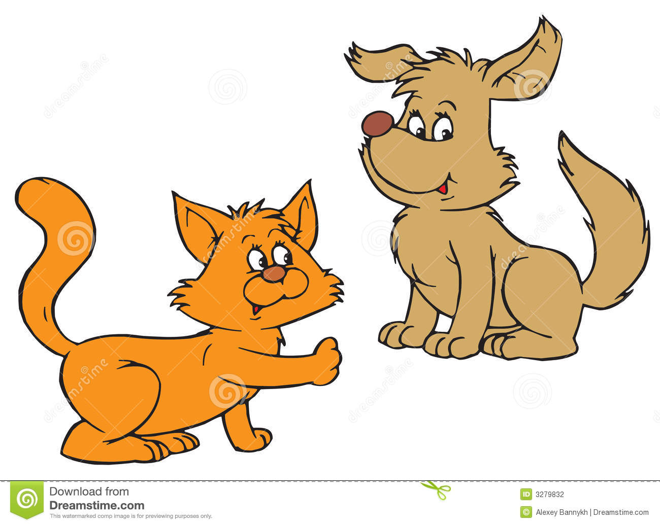 Cat And Dog (vector Clip.