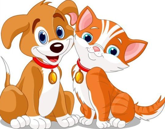 Cute dog with cat vector illustration 02.
