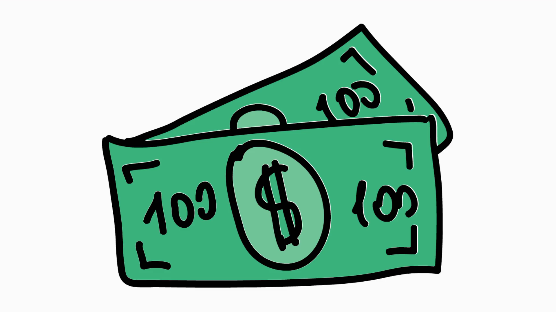 dollar bill icon cartoon illustration hand drawn animation transparent.