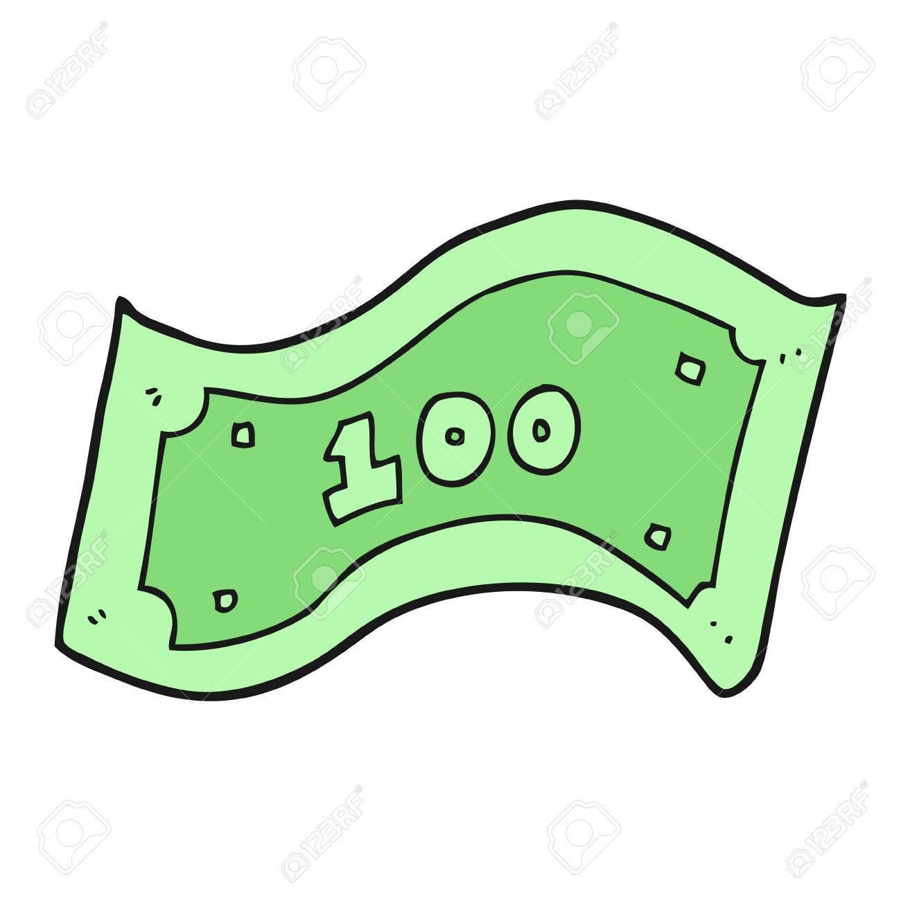 freehand drawn cartoon 100 dollar bill.