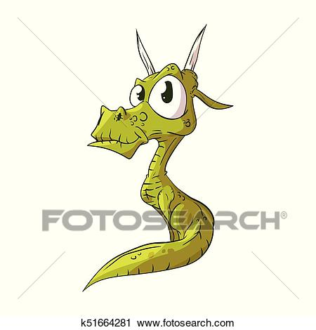 Cute cartoon dragon Clipart.