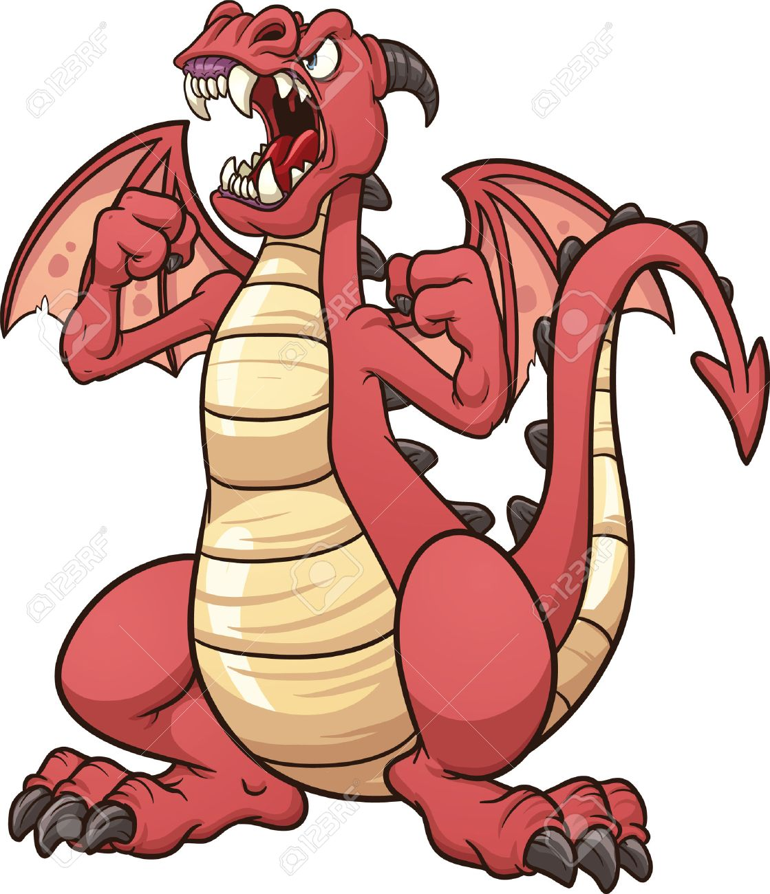 Angry cartoon dragon Vector clip art illustration with simple...