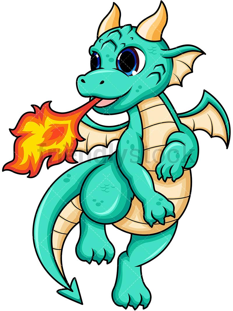 Female Dragon Breathing Fire.