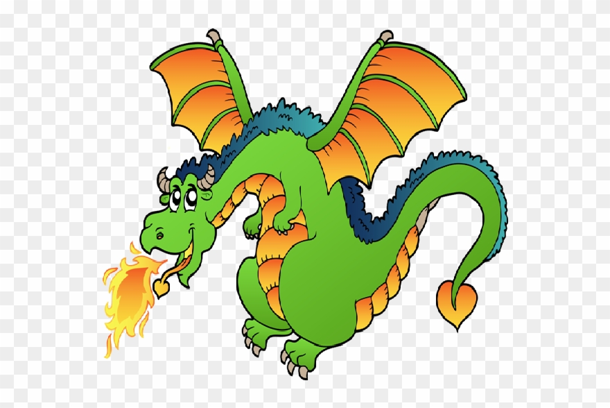 Dragon Clipart Free Funny Dragons With Flames Cartoon.
