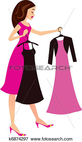 Clip Art of Cartoon woman choosing dresses k6874297.
