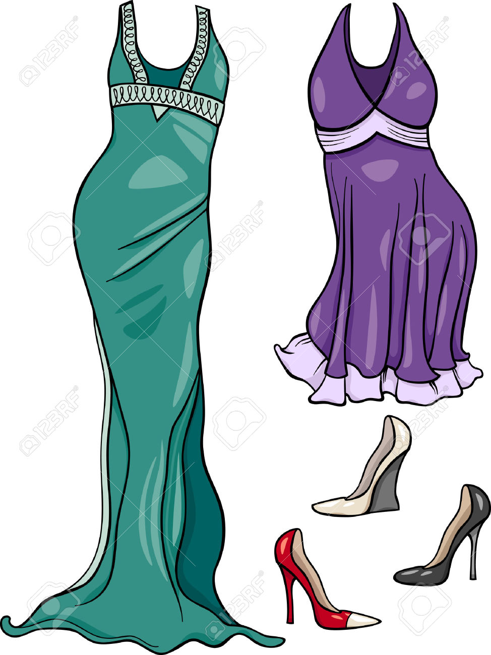 Cartoon Illustration Of Women Evening Dresses And Shoes Objects.