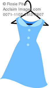 Royalty Free Clipart Image: Illustration Of A Blue Dress On A Hanger.