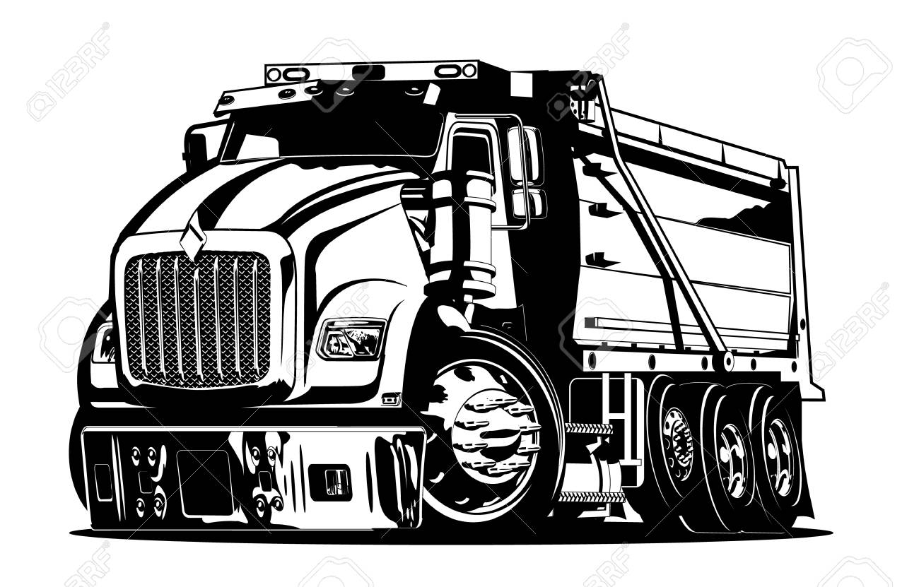 Vector Cartoon Dump Truck. vector format separated by groups...