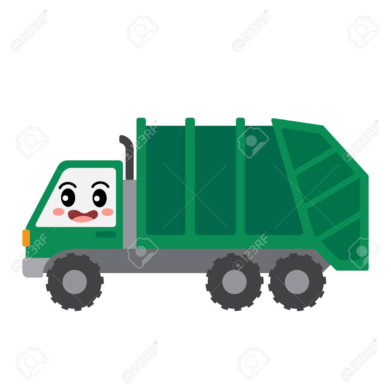 Garbage Truck transportation cartoon character side view isolated...