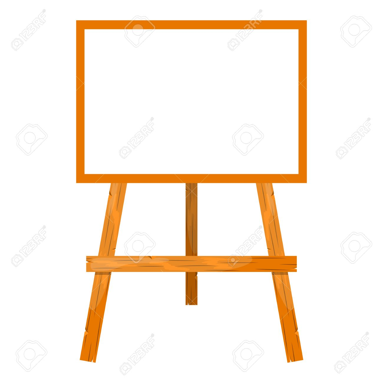 Wooden easel with a blank canvas. Cartoon style style.