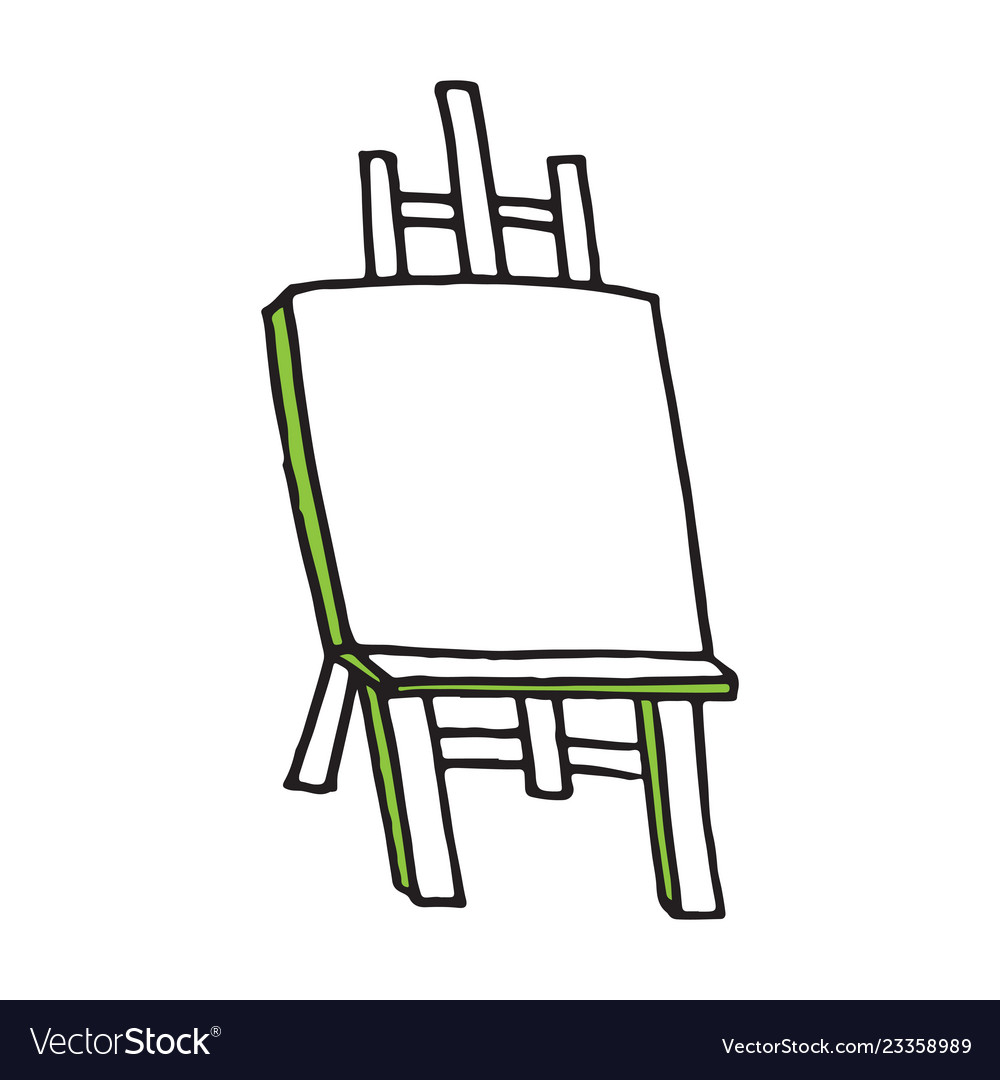 Easel cartoon hand drawn style.