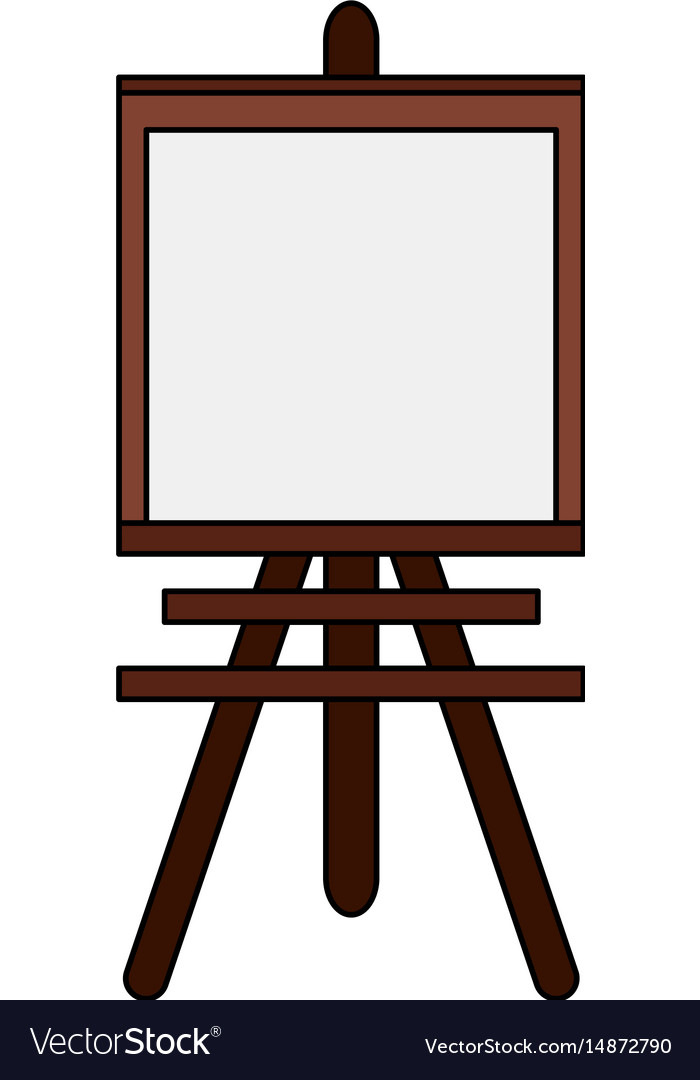 Color image cartoon wooden easel for drawing.