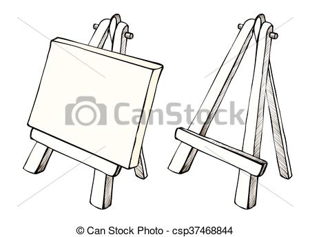 Wooden easel and canvas.
