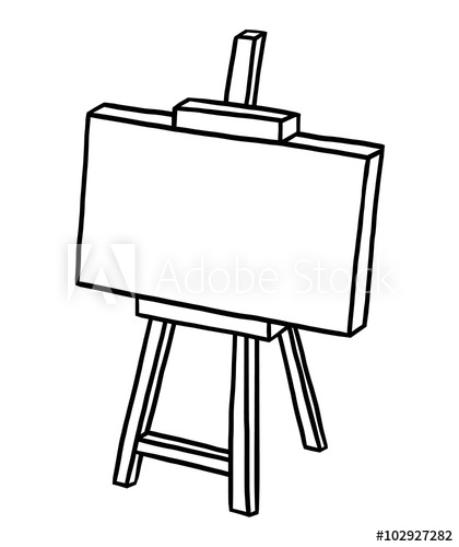 wooden easel with blank canvas / cartoon vector and illustration.
