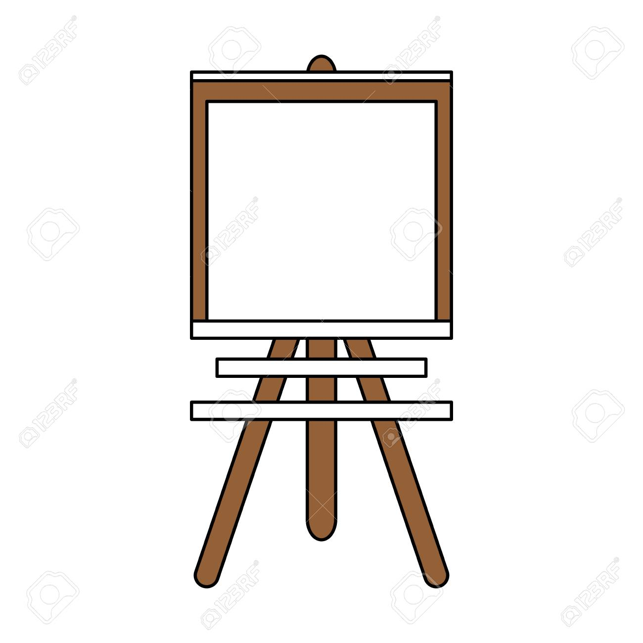 color silhouette image cartoon wooden easel for drawing vector...