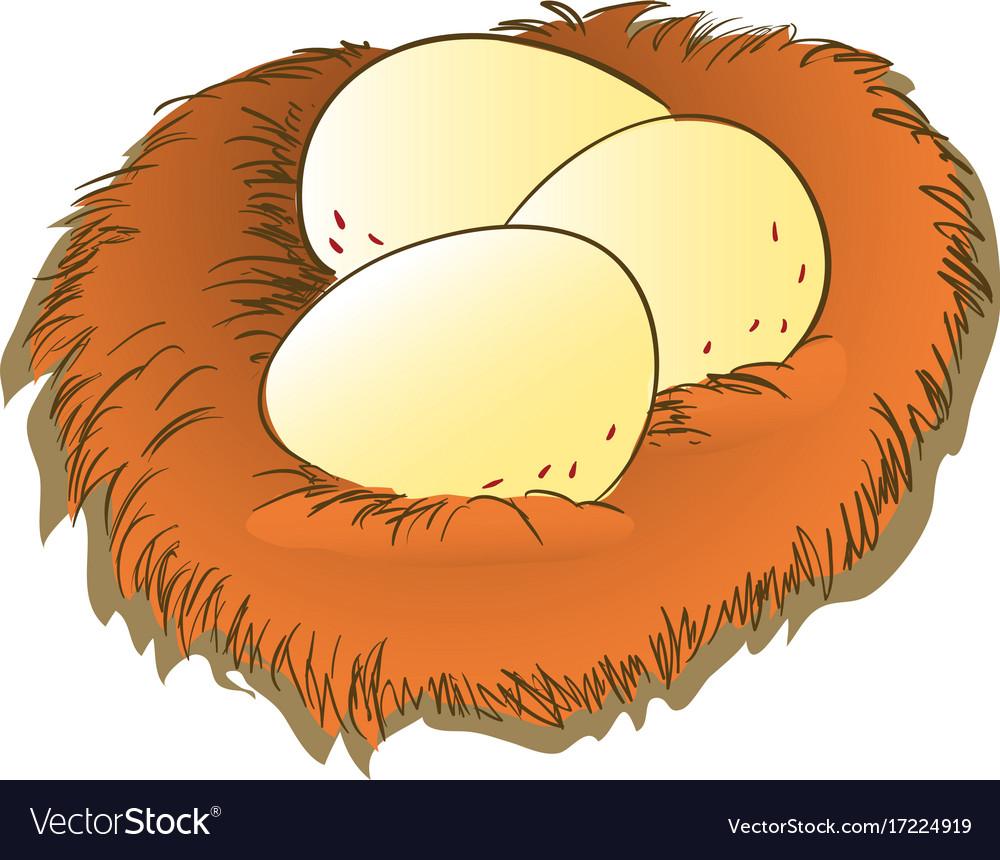 Cartoon egg and nest clipart.
