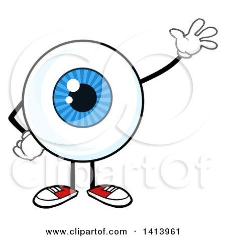 Clipart of a Cartoon Eyeball Character Mascot Waving.