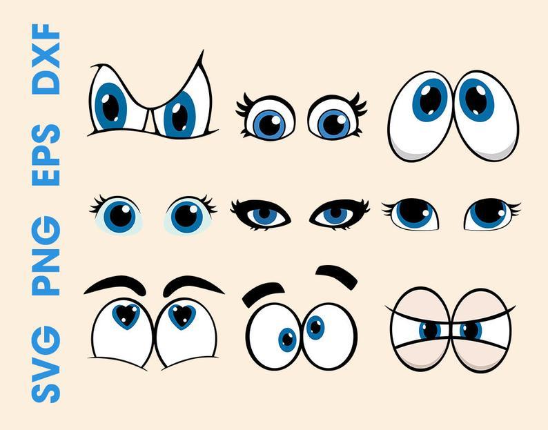Cartoon eyes svg Eyes svg Vector eyes Eyes clipart Eyes cut file Cartoon  eyes sticker.