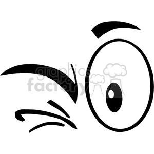 Royalty Free RF Clipart Illustration Black And White Winking Cartoon Eyes  clipart. Royalty.