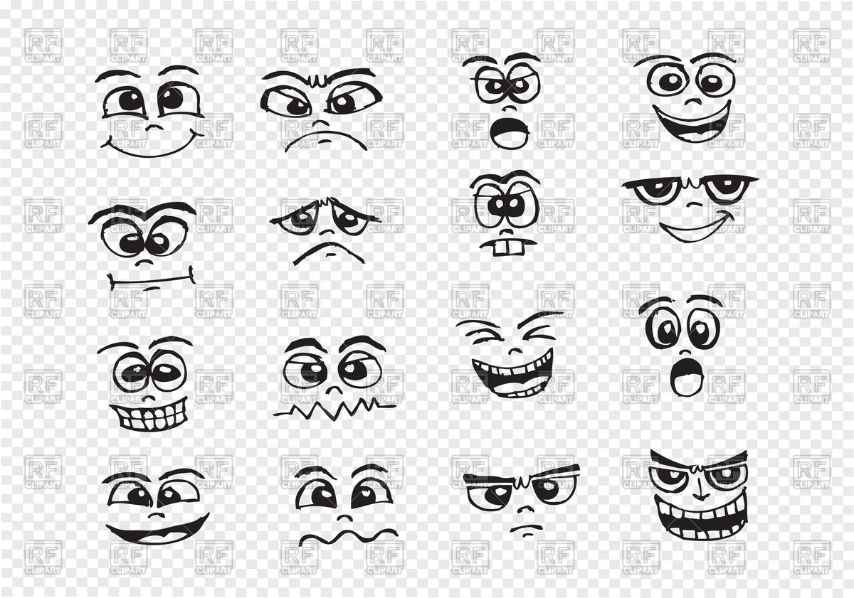 Cartoon faces set Stock Vector Image.