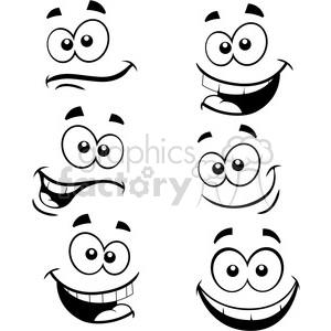 cartoon faces in vector clipart. Royalty.