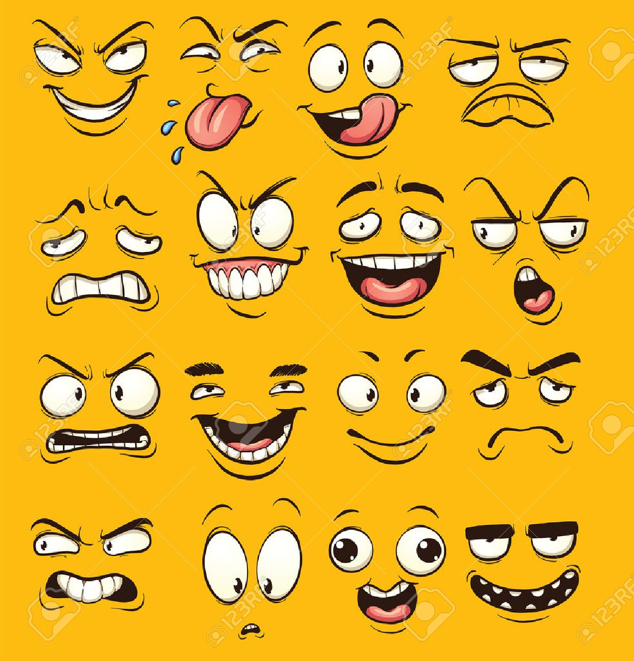 Funny cartoon faces. clip art illustration with simple gradients.