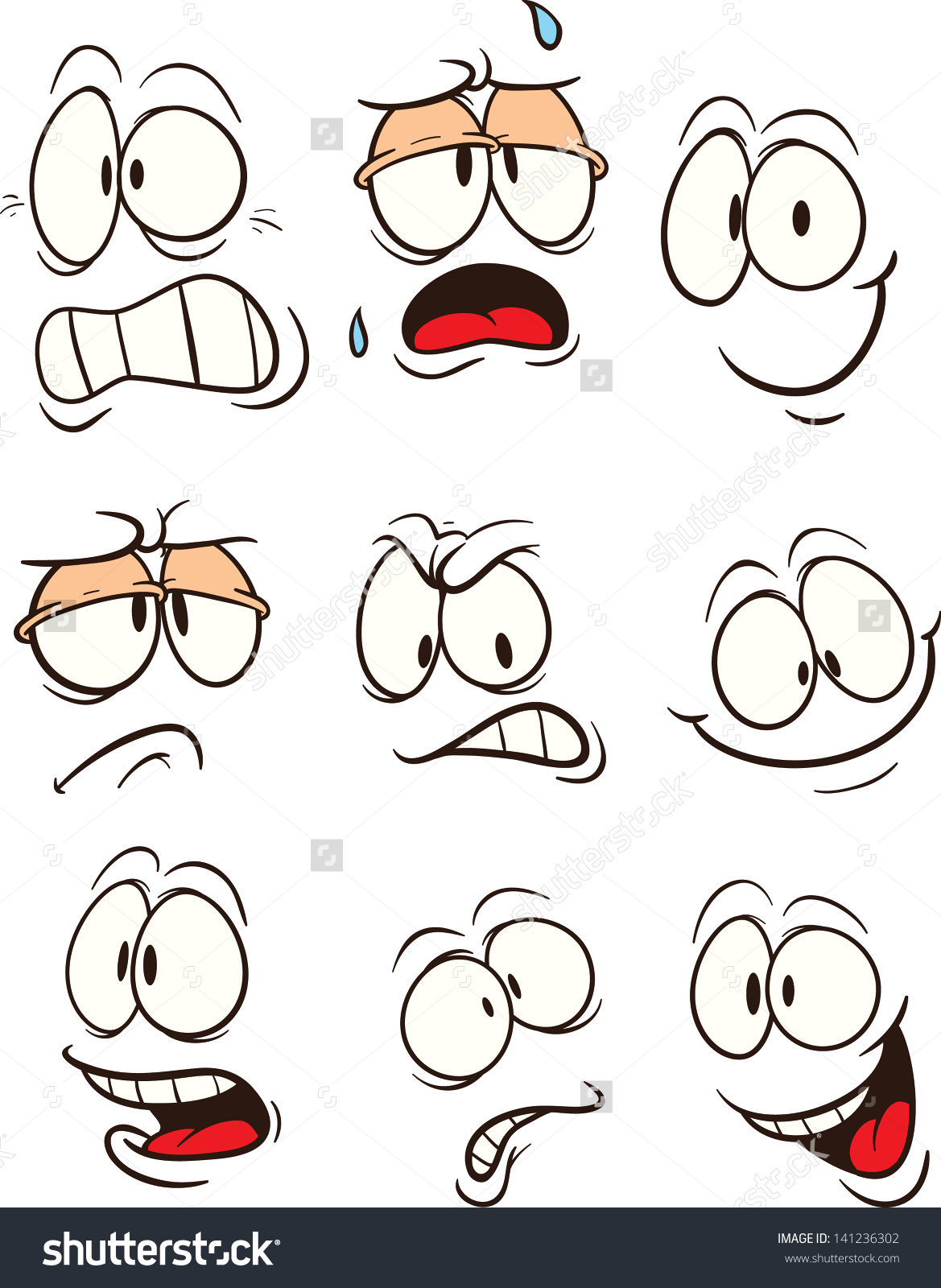 Cartoon Faces Vector Clip Art Illustration Stock Vector 141236302.