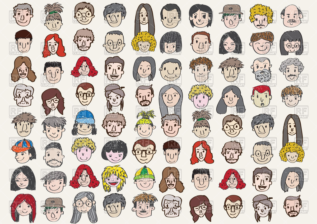 Set of various cartoon faces Vector Image #69431.