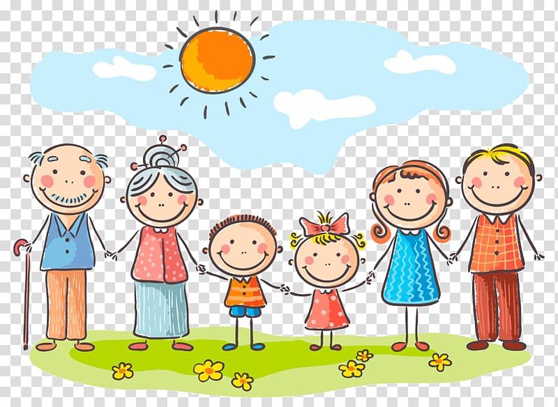 Child Cartoon Family Grandparent, A man out transparent.