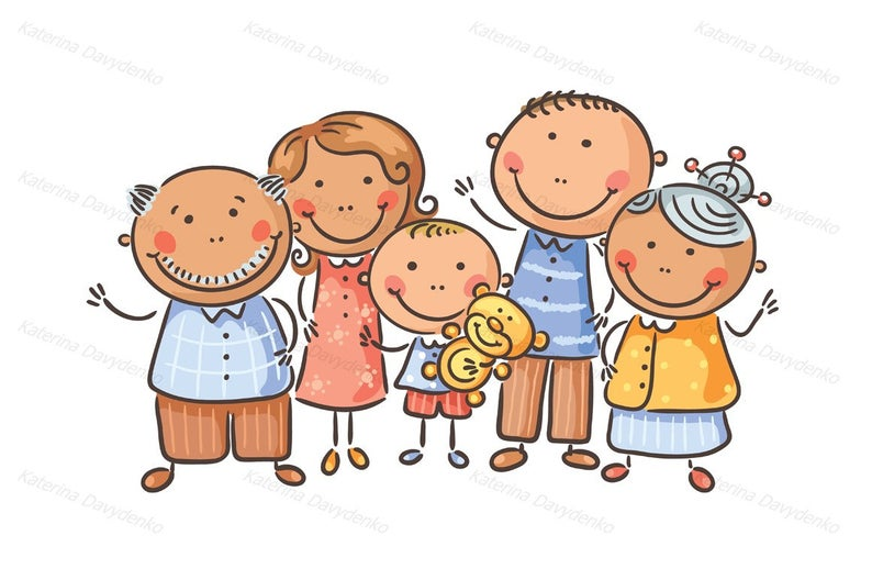 Happy family of five. Family clipart, cartoon family, family illustration,  doodle clipart, vector family, parents clip art, happy family.