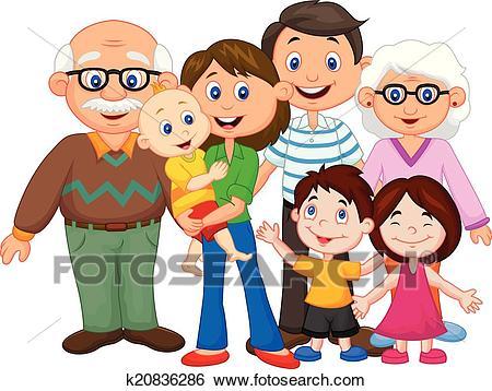 Happy cartoon family Clip Art.