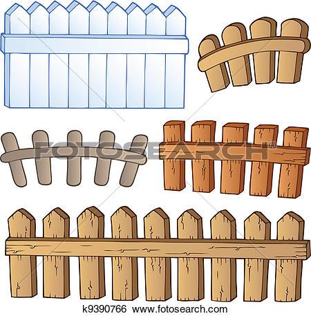Clip Art of Cartoon fences collection k9390766.