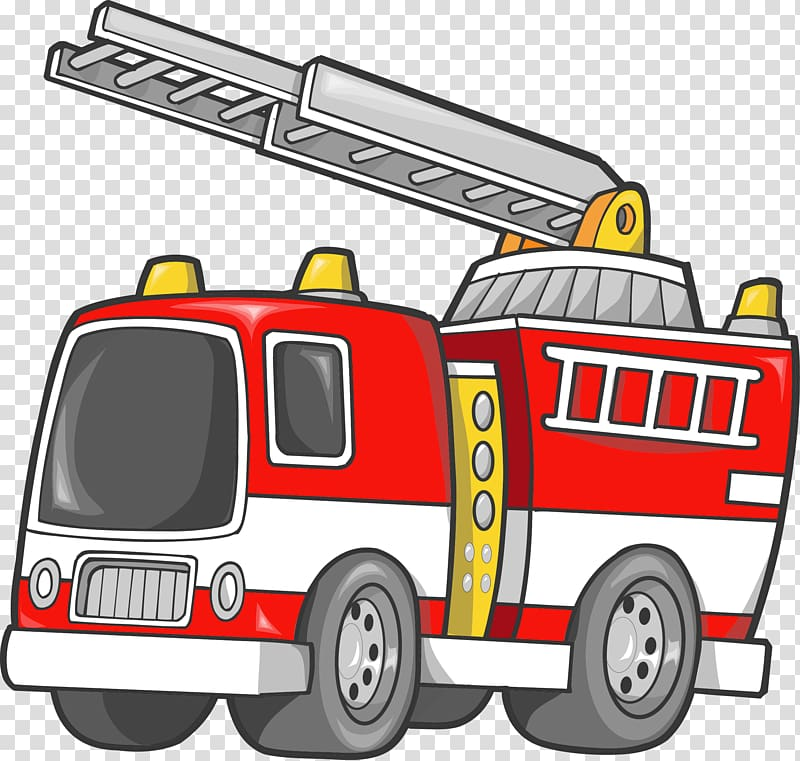 Red and white firetruck cartoon illustration, Car Fire engine.