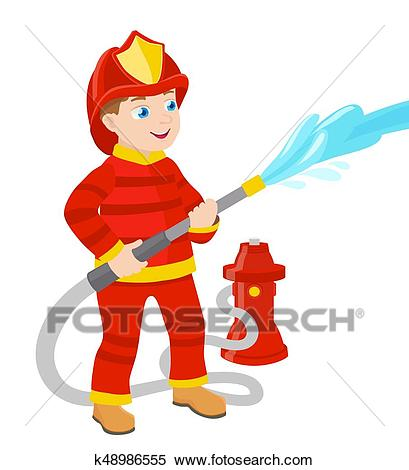 Cartoon young fireman vector illustration Clipart.