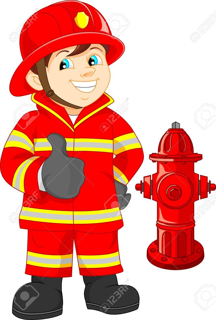 Fire fighter cartoon thumb up.