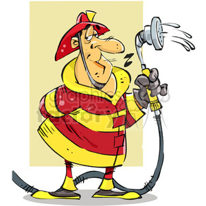 cartoon firefighter with water hose clipart. Royalty.