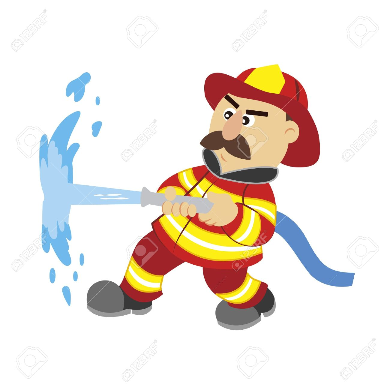 an illustration of cartoon fireman.