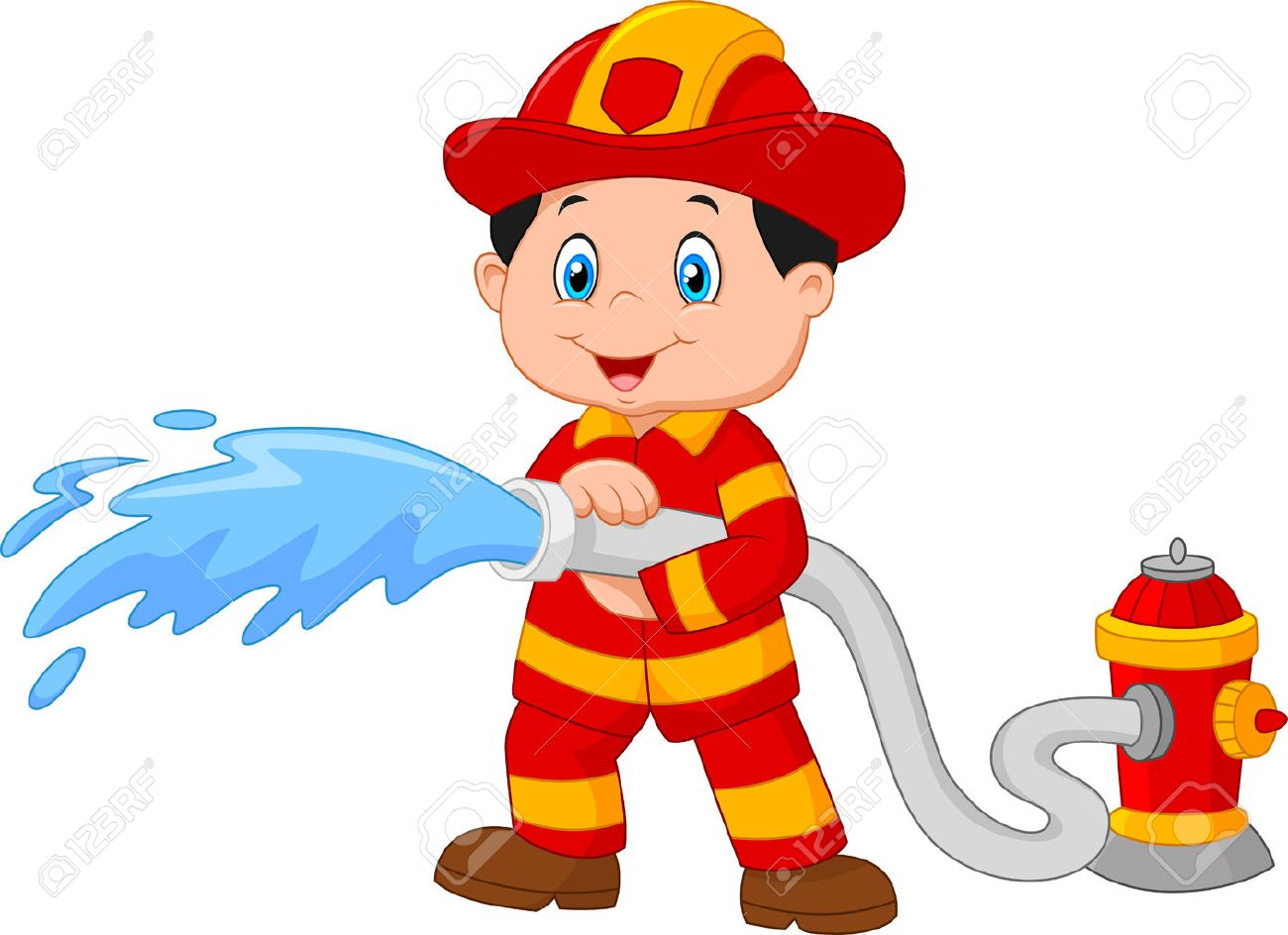 Cartoon Firefighter pours from a fire hose.