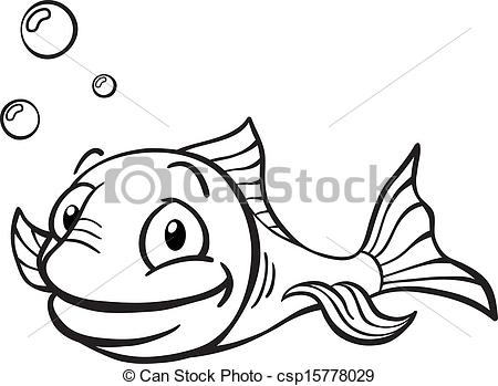 Black and white cartoon fish.