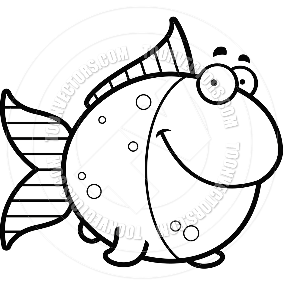 Fish Cartoon Black And White Clipart.