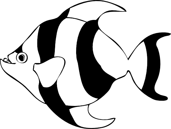 Tropical Fish Clip Art Black And White.