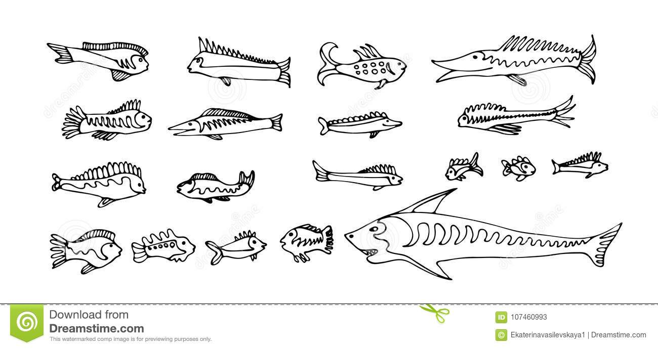 Set Of Cartoon Fishes. Vector Hand Drawn Outline Clipart. Aquarium.