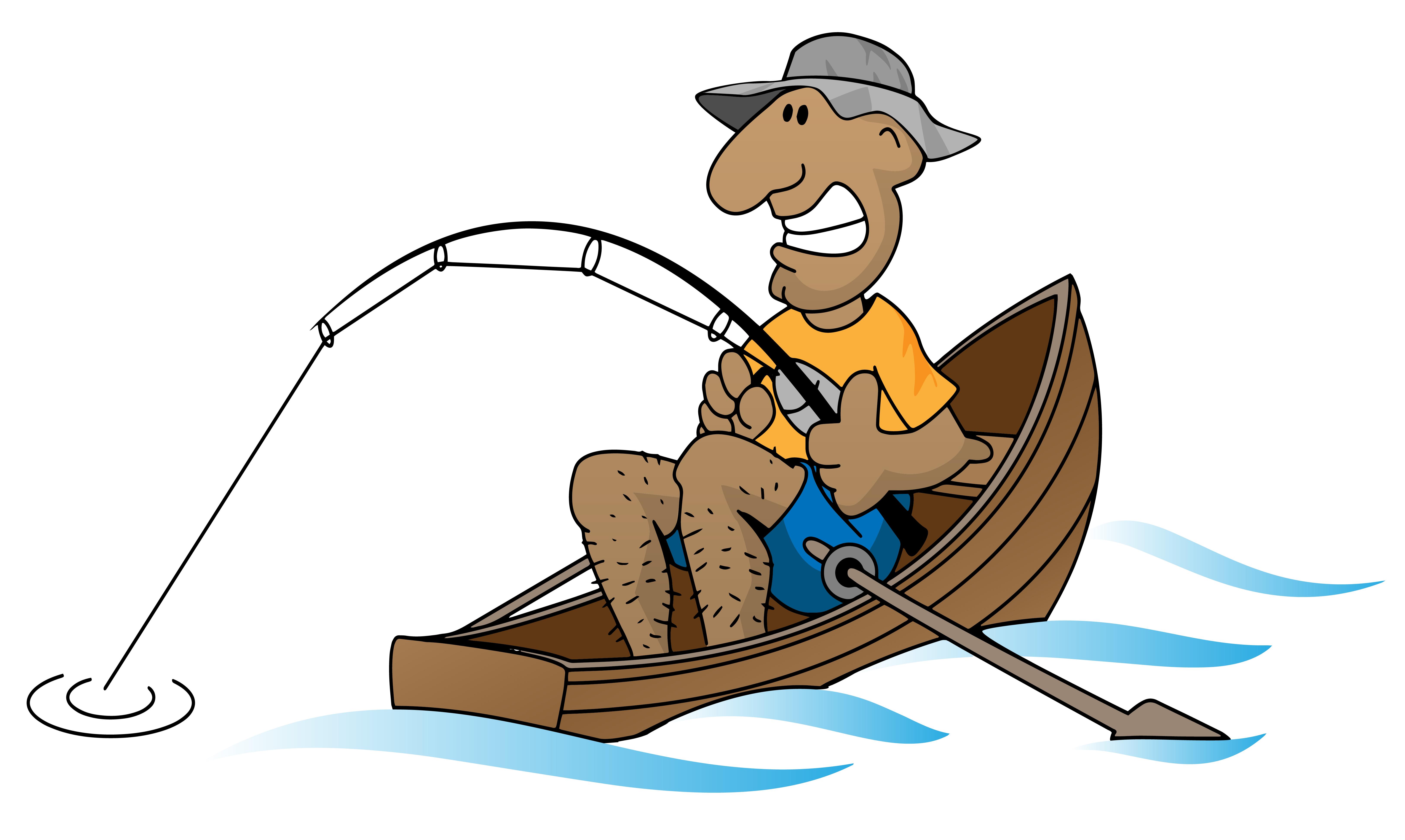 Cartoon man fishing in boat vector illustration.