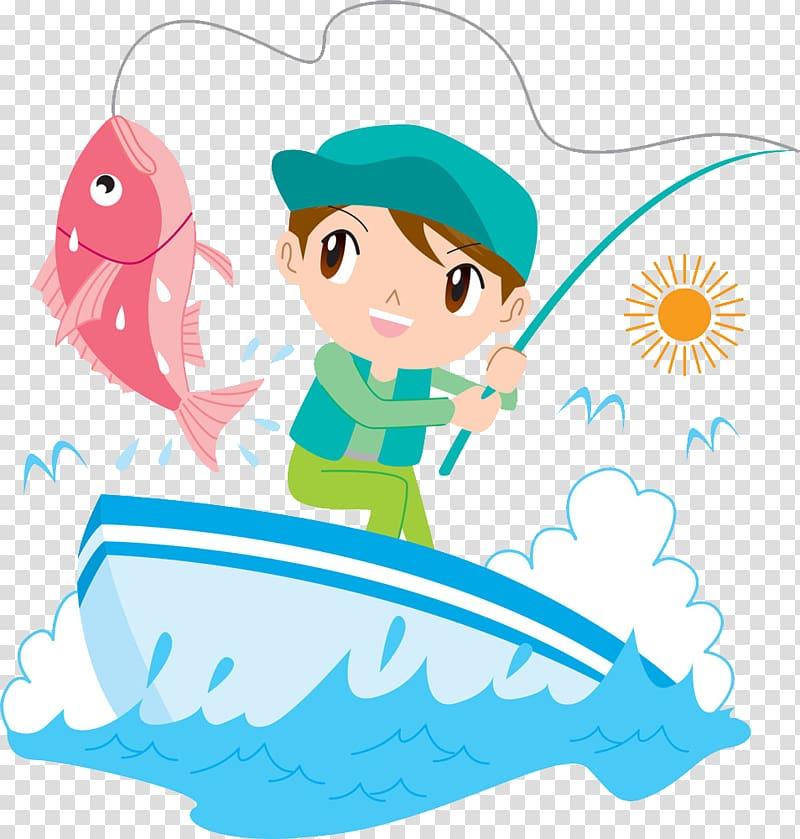 Angling Cartoon Fishing rod, Cartoon boy fishing transparent.