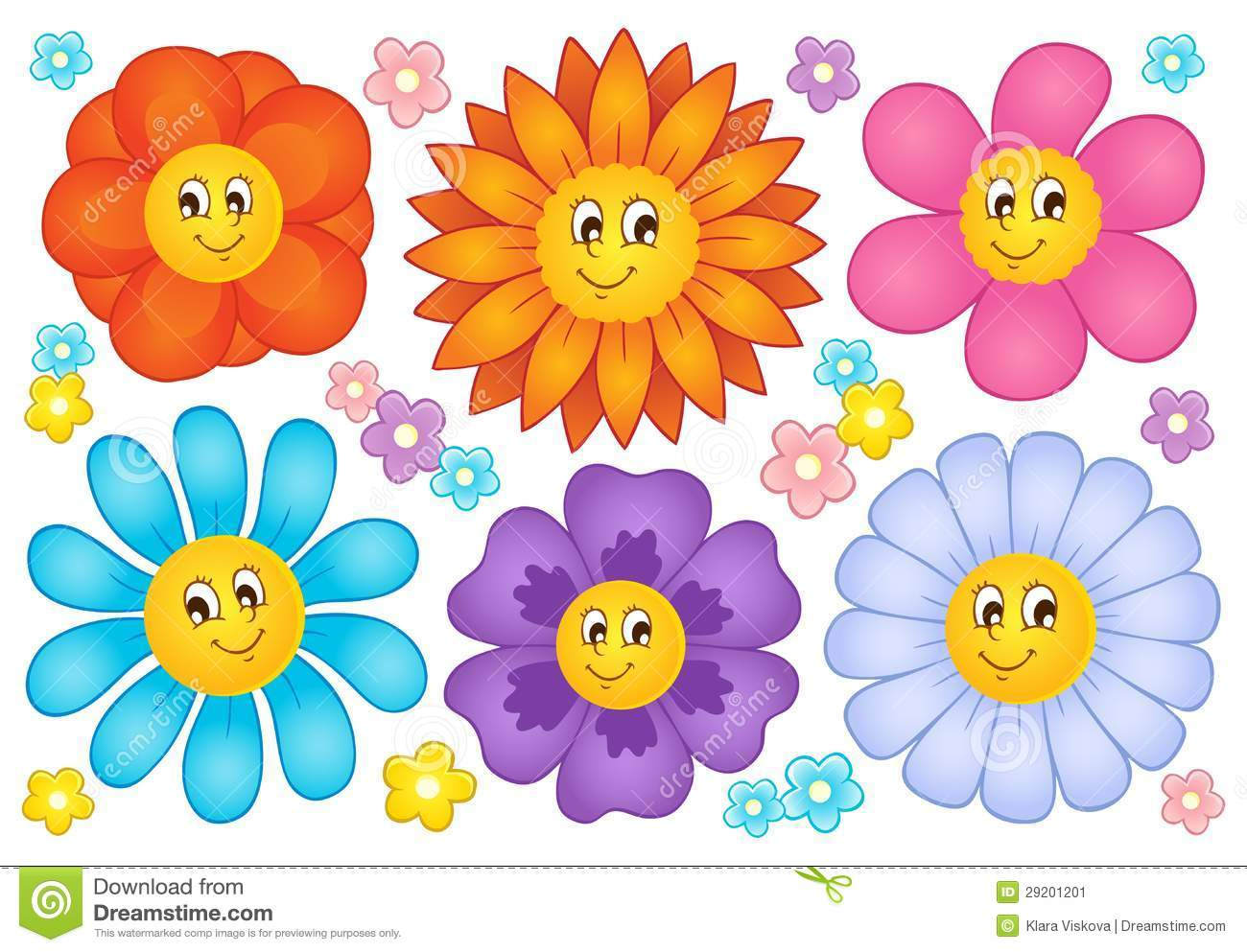 Cartoon flowers collection stock vector. Illustration of clipart.