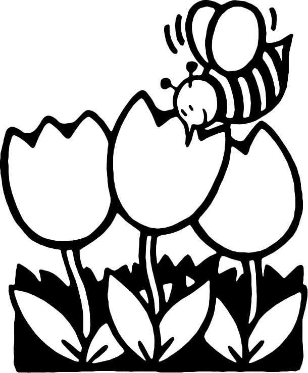 Bee black and white cartoon flower clipart black and white.