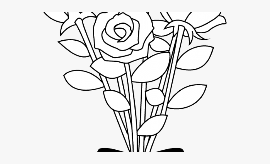 Flower Clipart Black And White.