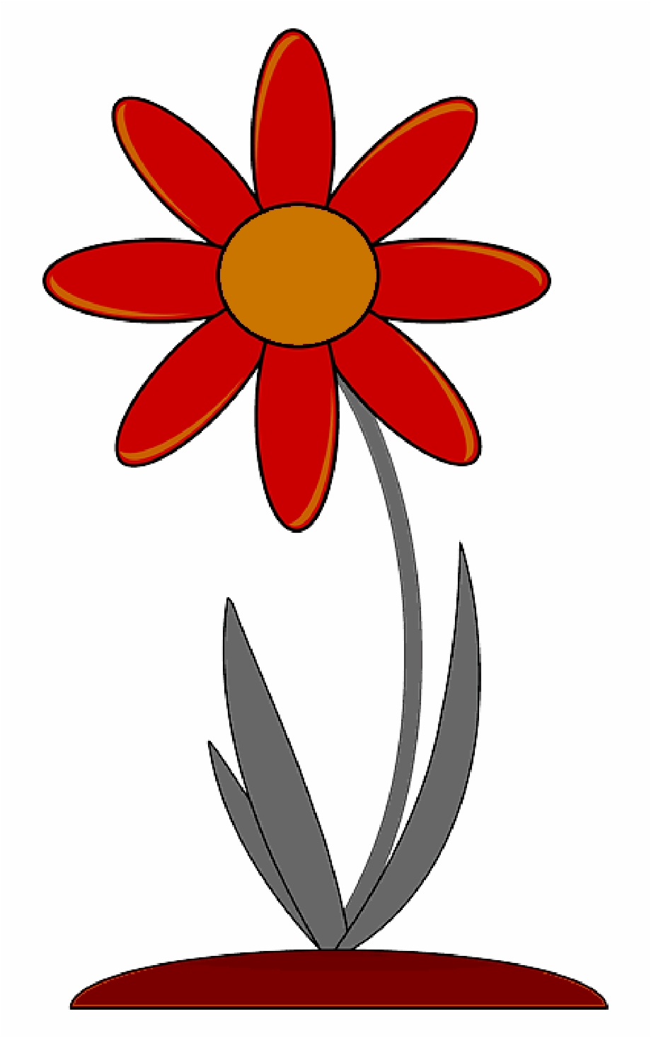 Red, Outline, Drawing, Plants, Flower, Flowers, Cartoon.
