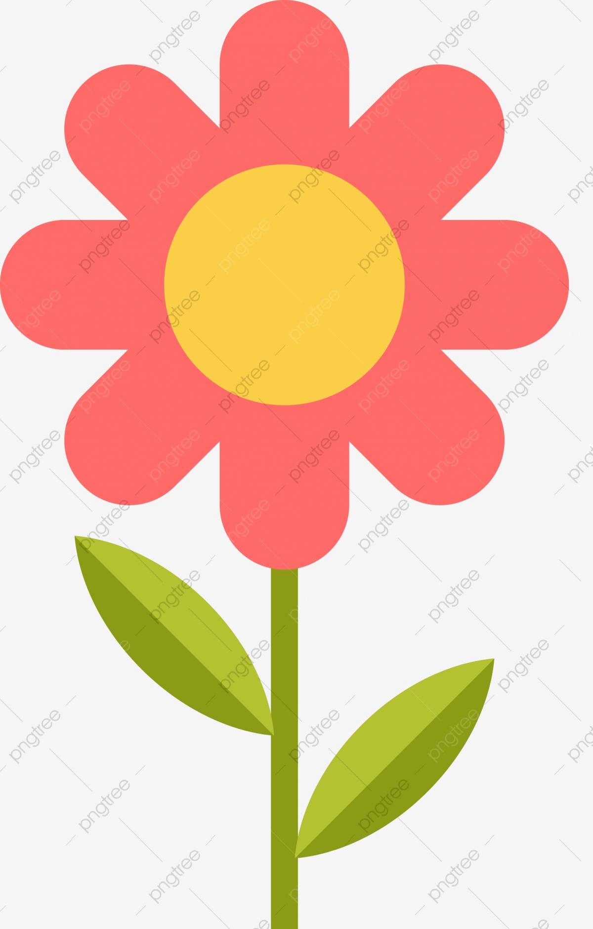 Red Cartoon Flower Decoration Pattern, Cartoon Clipart, Flower.